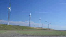 Windmills at the horizon stock footage