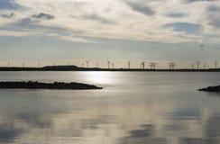 Windmills at the horizon Stock Photo