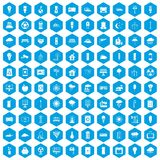 100 windmills icons set blue. 100 windmills icons set in blue hexagon isolated vector illustration Stock Image