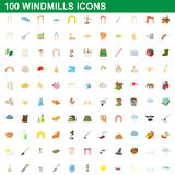 100 windmills icons set, cartoon style. 100 windmills icons set in cartoon style for any design vector illustration Stock Photos