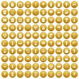 100 windmills icons set gold. 100 windmills icons set in gold circle isolated on white vector illustration Stock Photography