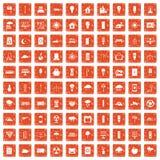 100 windmills icons set grunge orange. 100 windmills icons set in grunge style orange color isolated on white background vector illustration Royalty Free Stock Photo