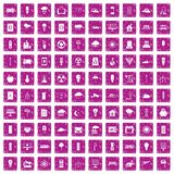 100 windmills icons set grunge pink. 100 windmills icons set in grunge style pink color isolated on white background vector illustration Stock Photo