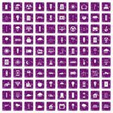 100 windmills icons set grunge purple. 100 windmills icons set in grunge style purple color isolated on white background vector illustration Royalty Free Stock Images