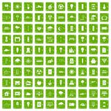 100 windmills icons set grunge green. 100 windmills icons set in grunge style green color isolated on white background vector illustration Royalty Free Stock Photography