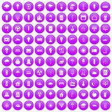 100 windmills icons set purple. 100 windmills icons set in purple circle isolated on white vector illustration Stock Photo