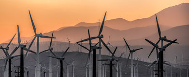 Windmills III. Windmills in Palm Springs, CA at sunset Royalty Free Stock Image