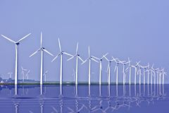 Windmills at the IJsselmeer in the Netherlands Stock Photo