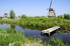 Windmills In Dutch Landscape Royalty Free Stock Image