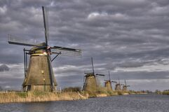 Free Windmills In Kinderdijk Holland, Netherlands Stock Image - 184132751