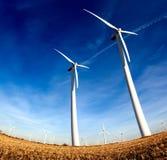 Windmills , Industrial Eolic Installation Stock Photos
