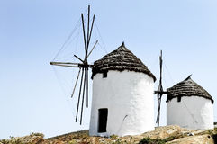 Windmills in Ios island, Greece Stock Image