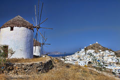 Windmills of Ios island (Greece) Stock Photography