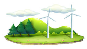 Windmills in the island. Illustration of windmills in the island on a white background Stock Photo
