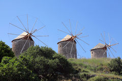 Windmills on the island of Patmos, Greece Royalty Free Stock Photo