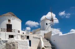 Traditional Windmills on the Island of Santorini, Greece Royalty Free Stock Photo