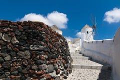 Traditional Windmills on the Island of Santorini, Greece Stock Photos