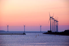 Windmills just before the sunrise Royalty Free Stock Images