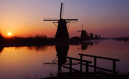 The windmills of kinderdijk. In the netherlands near rotterdam at sunrise Royalty Free Stock Images