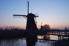 The windmills of kinderdijk Stock Photo