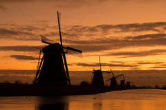 Windmills in Kinderdijk Royalty Free Stock Image