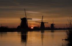 Windmills Kinderdijk Arkivfoto