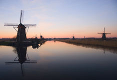 Windmills in Kinderdijk Royalty Free Stock Photography