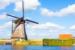 Windmills in Kinderdijk, Holland. Historical windmills of 1740 year in Kinderdijk, Holland stock photo