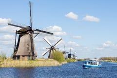Windmills in Kinderdijk, Holland. Historical windmills of 1740 year in Kinderdijk, Holland royalty free stock photos