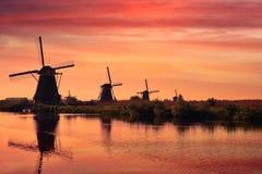 Windmills at Kinderdijk in Holland. Netherlands Stock Image