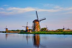 Windmills at Kinderdijk in Holland. Netherlands Royalty Free Stock Photography
