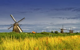 Windmills in Kinderdijk, Holland, Netherlands Royalty Free Stock Photos
