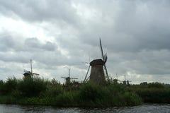 Windmills of Kinderdijk in Holland stock photography