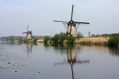 Windmills of kinderdijk holland Stock Photography