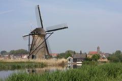 Windmills of kinderdijk holland. In spring Stock Photo