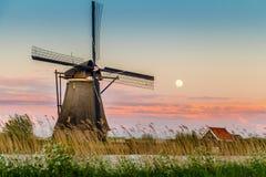 Windmills of kinderdijk, Holland. Sunset Stock Photos