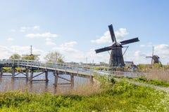 Windmills in Kinderdijk, Holland. A water channel and historical windmills in Kinderdijk, Holland royalty free stock photo