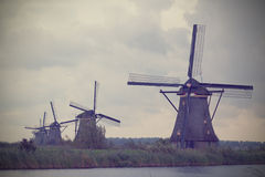 Windmills in Kinderdijk Royalty Free Stock Photo