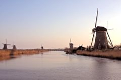Windmills at the Kinderdijk in the Netherlands Stock Photo