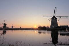 Windmills at the Kinderdijk in the Netherlands Royalty Free Stock Image