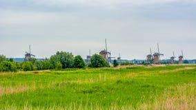 Windmills in Kinderdijk, Netherlands stock photo