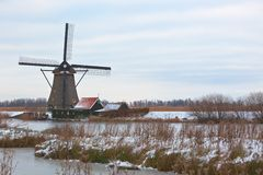 Windmills in Kinderdijk at winter Royalty Free Stock Images