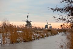 Windmills in Kinderdijk at winter sunset Royalty Free Stock Photos