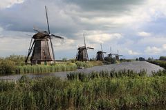Windmills at Kinderijk, Holland Royalty Free Stock Images