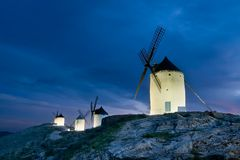 Windmills of La Mancha tonight Stock Photos