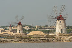 Windmills lagoon stagnone marsala trapani sicily italy europe Stock Images