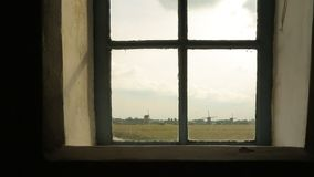 Windmills on the land stock footage