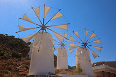 Windmills in the Lasithi Plateau Stock Photo