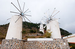 Windmills at Lasithi plateau. Crete, Greece Royalty Free Stock Images