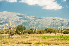Windmills on Lasithi Plateau, Crete  Greece Stock Photo